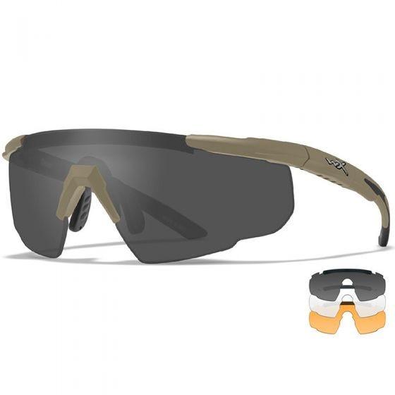 Wiley X Saber Advanced Glasses - Smoke Grey + Clear + Light Rust Lens / Matte Tan Frame