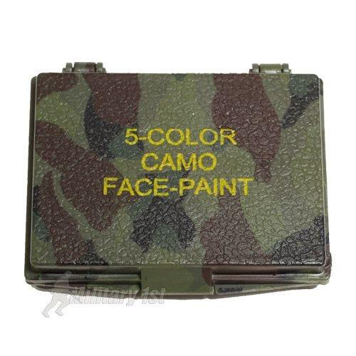 Mil-Tec Camouflage-maling til Ansigtet 5 Farver med Spejl - Woodland