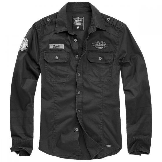 Brandit Luis Vintage Skjorte med Mærker - Sort