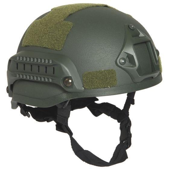 Mil-Tec US M.I.C.H. 2002 Hjelm med Spor - Olivenfarvet