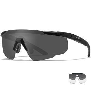 Wiley X Saber Advanced Glasses - Smoke Grey + Clear Lens / Matte Black Frame
