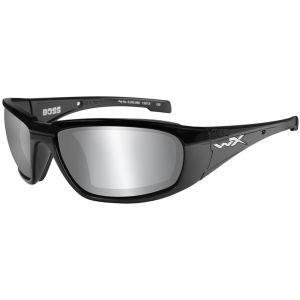 Wiley X WX Boss Glasses - Smoke Grey Silver Flash Lens / Gloss Black Frame