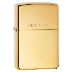 Zippo High Polish Brass Engraved Lighter - High Polish Brass