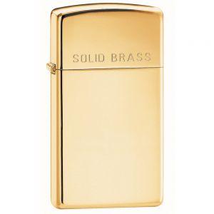 Zippo Slim High Polish Brass Engraved Lighter - High Polish Brass